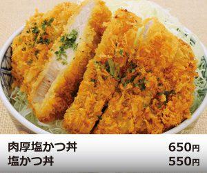 肉厚塩かつ丼 650円/塩かつ丼 550円